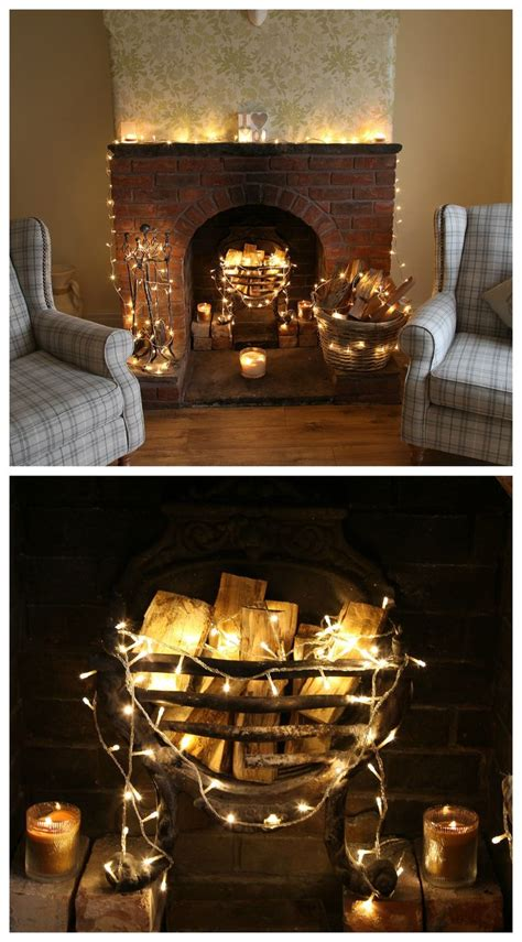 fairylights   real stone fireplace