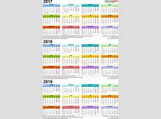 Three year calendars for 2017, 2018 & 2019 UK for Excel