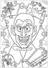Coloring Halloween Vampire Adults Adult Teeth Sheet Sharp Justcolor Events sketch template