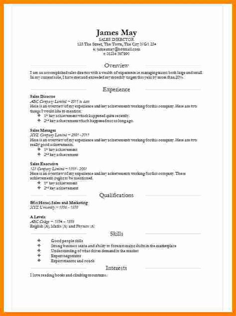Basic Curriculum Vitae Template by 8 Cv In Word Document Theorynpractice