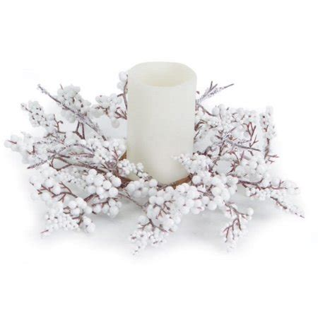 candle ring snow red berries 12 artificial pillar candle rings with snow and white berries 10 quot walmart