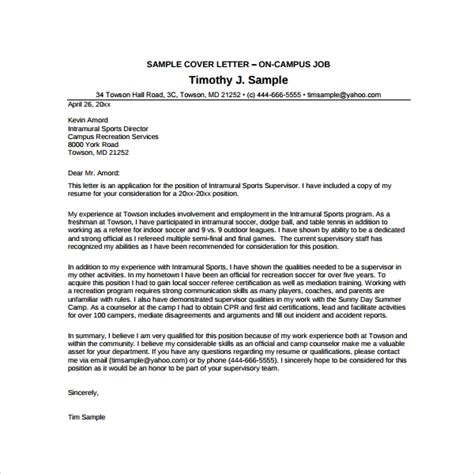 Summer Cover Letter by Sle C Counselor Cover Letter 7 Documents In Pdf Word
