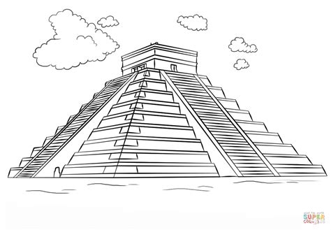Drawn Pyramid Mayan Pyramid