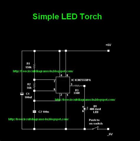 Circuit Diagram Led Torch by Free Circuit Diagrams 4u Simple Led Torch