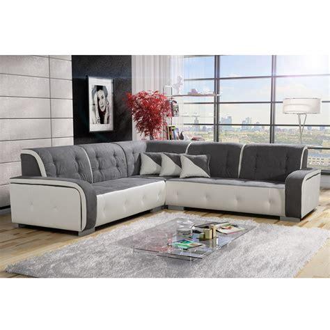 canapé d angle gris tissu canapé d 39 angle réversible tissu gris et pvc blanc jamaïca