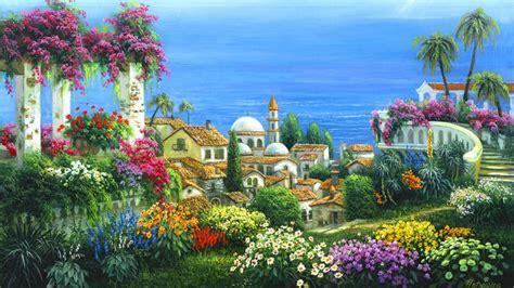 seaside village wallpaper  background image