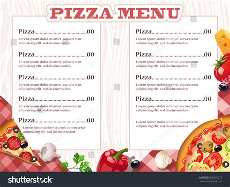 Pizza Menu Template Word by Pizza Restaurant Menu Template Ingredients Vector Stock