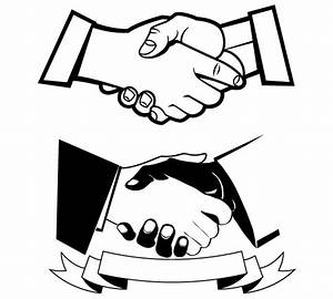 Black white handshake clipart - Clipartix