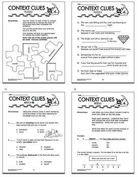 context clues worksheets 2nd grade 2010 context clues worksheets task card bundle 2nd grade context clues activities