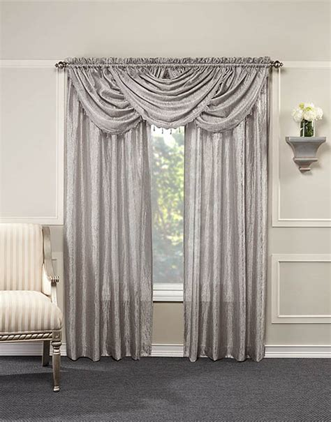 White And Silver Valance by Whisper Crushed Satin Waterfall Valance With Beaded Trim