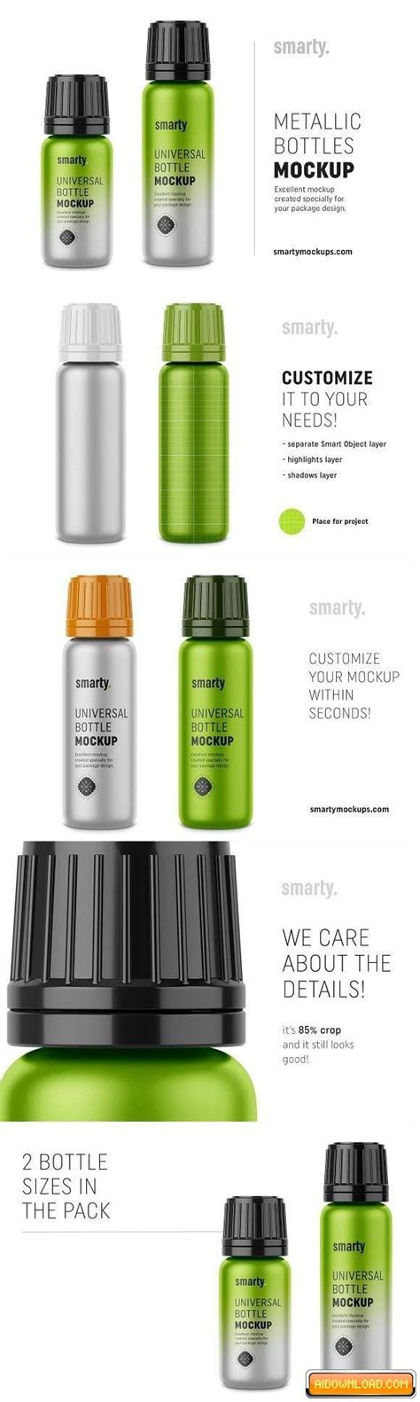 The item is presented in a front view. Metallic bottle mockups | Free Graphic Templates, Fonts ...