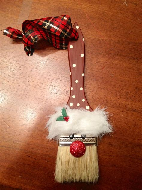 santa paintbrush ornament   kindergarten christmas