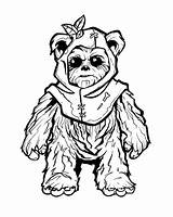 Coloring Adult Ewok Wars Fine Line Clipart Clip Drawings Clock Sheets Tattoo Arts Library Luke Leia sketch template