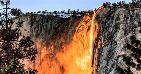 Yosemite Firefall Ignites Tail Fall With Brilliant