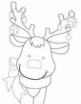 Reindeer Coloring Rudolph Nose sketch template