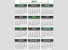 Yearly Calendar 2019 free calendar 2018