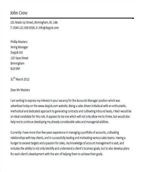 account manager cover letter 8 account manager cover letters sle templates