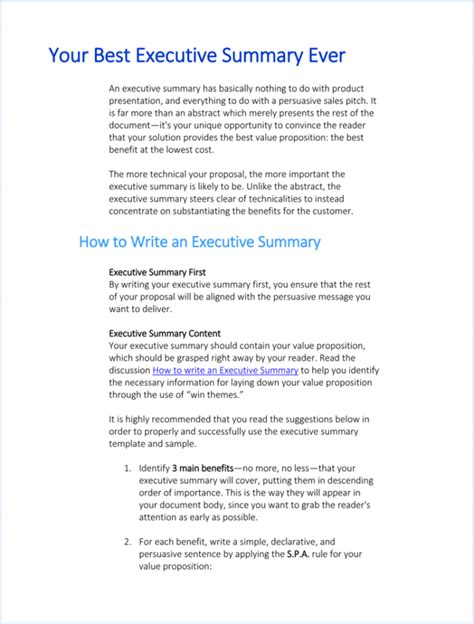 Resume Executive Summary Exle by 10 Executive Summary Templates Word Excel Pdf