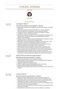 resume for teaching in thailand enseignante de maternelle exemple de cv base de donn 233 es des cv de visualcv