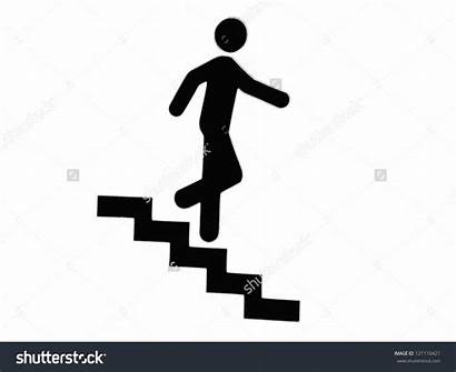 Stairs Downstairs Clipart Icon Sign Silhouette Stair