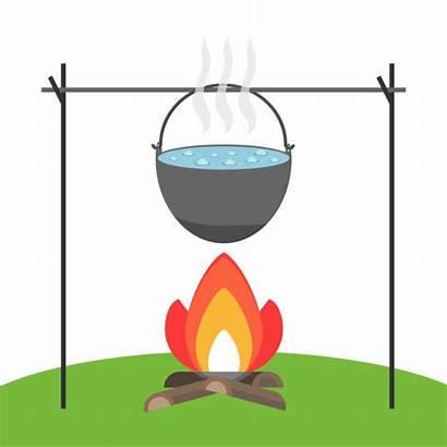 Pot Boiling Cartoon Water Clip Fire Illustrations