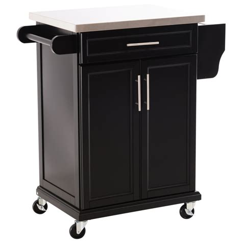 Kitchen Cupboard On Wheels by Homcom Wooden Kitchen Cart Serving Trolley Storage Cabinet