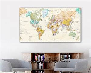 World map stretched canvas prints framed wall art home