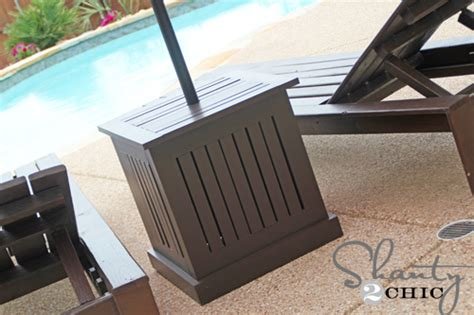 diy outdoor umbrella stand and loungers hometalk