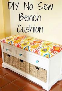 DIY No Sew Bench Cushion