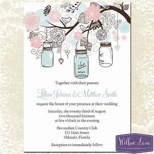 Mason jar wedding invitation blush pink blue mason jar for Mason jar beach wedding invitations
