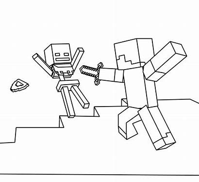 Minecraft Coloring Steve Skeleton Pages Mincraft Printables
