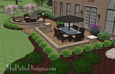 beautiful backyard patio design  seat wall  sq ft  installation plan
