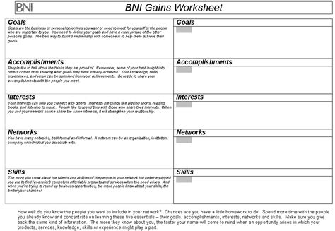 bni gains worksheet 171 bni alliance