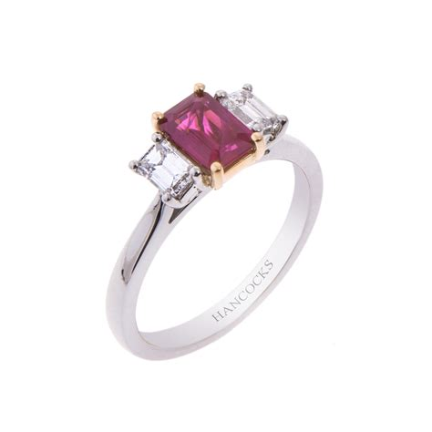 platinum and 18ct gold ruby and 3 ring hancocks jewellers