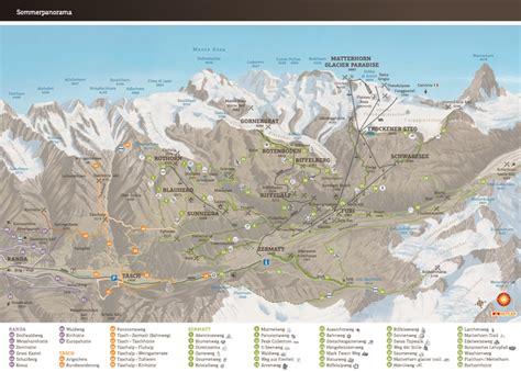 summer panorama map  zermatt switzerland suissa