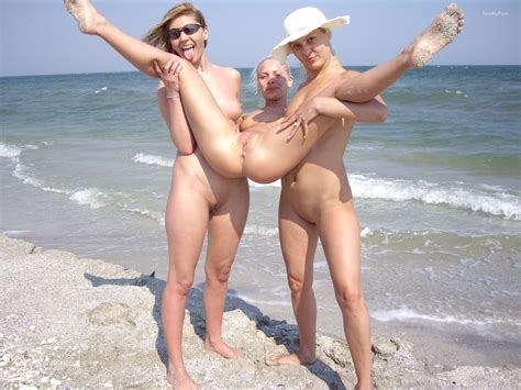 Nude Women On Beach Having Pussy Licked Out Showing Everything Off Photo