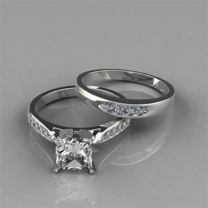 Cathedral pave engagement ring and wedding band set for Wedding and engagement ring set