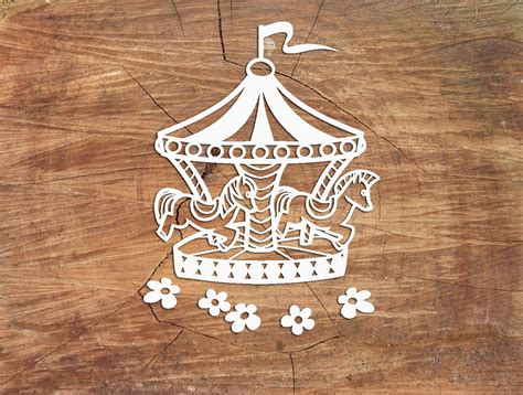 carousel paper cutting template carousel template  svg