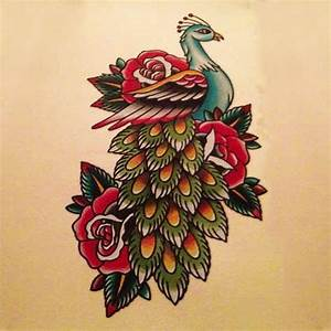 Peacock With Feathers And Nice Old School Roses Tattoo ...