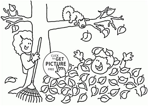 Fall Fun Time Coloring Pages For Kids, Seasons Printables
