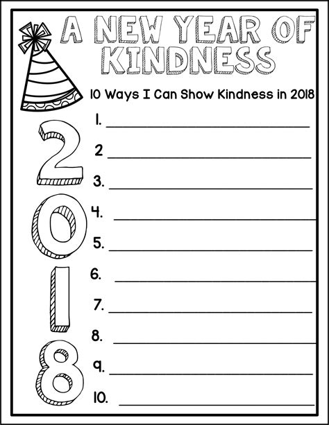 celebrate the new year resolutions and kindness challenge writing for 2019 3rd grade