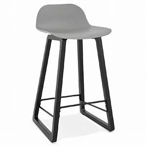 Chaise Mi Hauteur : tabouret de bar chaise de bar mi hauteur design obeline mini gris clair ~ Teatrodelosmanantiales.com Idées de Décoration