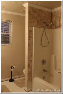 Installing Shower Stall by Gail S Decorative Touch Crown Molding And Tile Is Up In