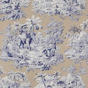 Toile De Jouy : tienda online telas papel papel pintado de toile de jouy bengale beige ~ Teatrodelosmanantiales.com Idées de Décoration