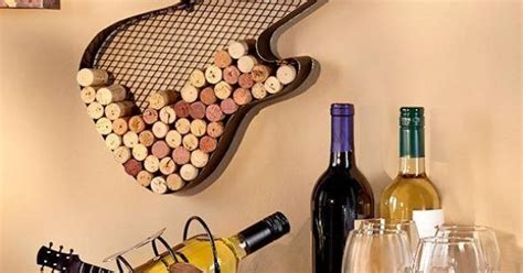 1 guitar wine bottle cork holder bar kitchen wall