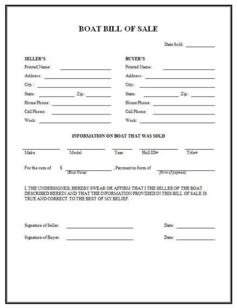 Buying A Boat Bill Of Sale by 4 Boat Bill Of Sale Form Templates Formats Exles In
