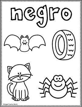 spanish pre  color worksheet  images spanish