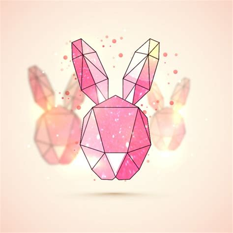 Bunny Background Geometric Bunny Background For Easter Vector Premium