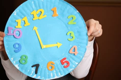paper plate clock craft fun family crafts