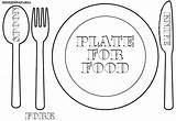 Plate Coloring Pages Fork Dishes Empty Colorings Dinner Printable Getcolorings sketch template